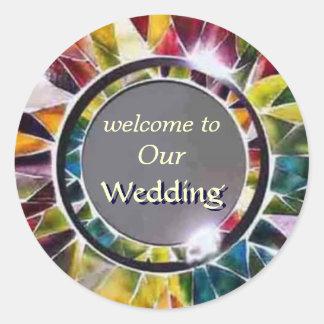Pegatina moderno del boda de la joyería de cristal