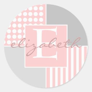 Pegatina moderno rosado de la niña