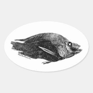 Pegatina muerto del óvalo de la Tilapia del mar de