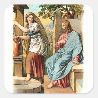 Pegatina-Mujer cristiana del vintage en el pozo Pegatina Cuadrada