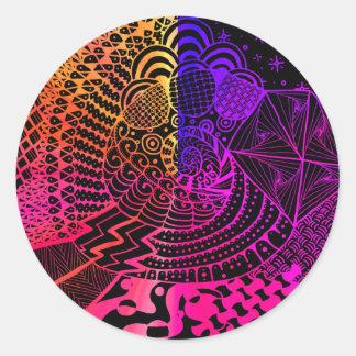 Pegatina multicolor del arte del Doodle