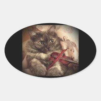 Pegatina musical del gato (OVAL) por RoseWrites