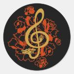 Pegatina musical del personalizado de los peonies