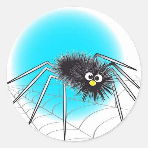 Pegatina negro de la araña del dibujo animado