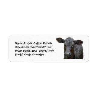 Pegatina negro de la granja o del rancho de ganado etiqueta de remitente