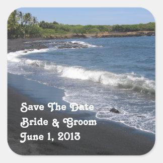 Pegatina negro del boda de playa de la arena