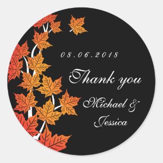 Pegatina negro del boda del otoño de la caída de