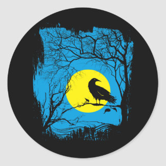 Pegatina negro del cuervo