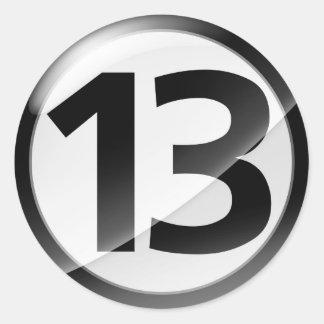 Pegatina negro del número 13