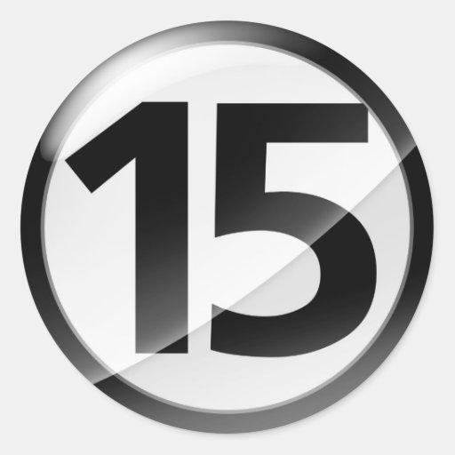 Pegatina negro del número 15