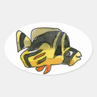 Pegatina negro del óvalo de los pescados de los