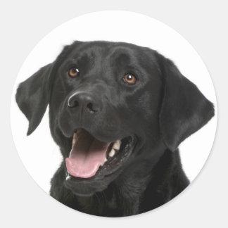 Pegatina negro del perro de perrito del labrador pegatina redonda