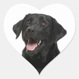 Pegatina negro del perro de perrito del labrador pegatina en forma de corazón