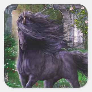 Pegatina negro del unicornio