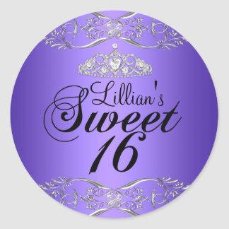 Pegatina negro púrpura del damasco y del dulce 16