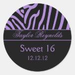Pegatina negro púrpura del dulce 16 de la cebra