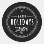 Pegatina negro redondo del navidad del día de