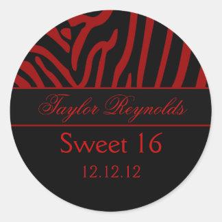Pegatina negro rojo del dulce 16 de la cebra