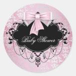 Pegatina negro rosado de la fiesta de bienvenida