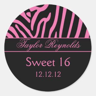 Pegatina negro rosado del dulce 16 de la cebra