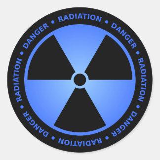 Pegatina negro y azul del símbolo de la radiación