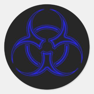 Pegatina negro y azul del símbolo del Biohazard