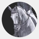 Pegatina negro y blanco del caballo del Dressage