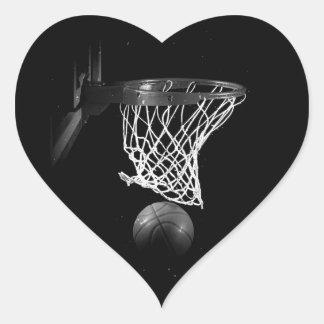 Pegatina negro y blanco del corazón del baloncesto