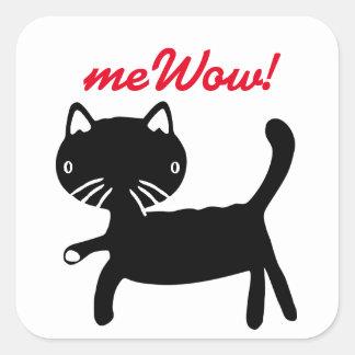 Pegatina negro y blanco del meWOW del gato buen