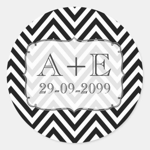 Pegatina negro y blanco del monograma del boda de