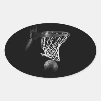 Pegatina negro y blanco del óvalo del baloncesto