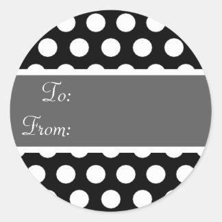 Pegatina negro y gris de la etiqueta del regalo de