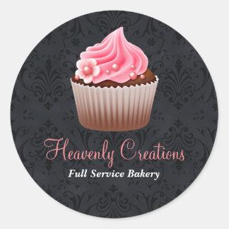 Pegatina negro y rosado de la panadería de la