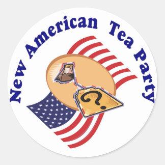 Pegatina-Nueva fiesta del té americana