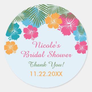 Pegatina nupcial de la ducha del hibisco hawaiano