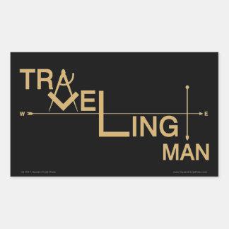 Pegatina oblongo del hombre que viaja