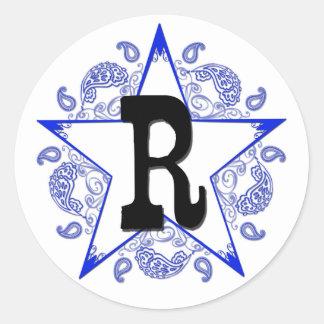 "Pegatina occidental del monograma del azul ""R"""