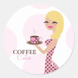 Pegatina ondulado rubio de Cutie del café 311