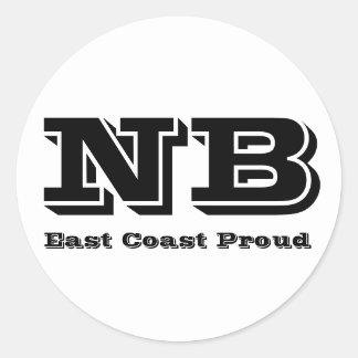 Pegatina orgulloso de Nuevo Brunswick de la costa