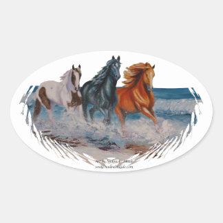 Pegatina oval, caballos en la resaca