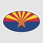 Pegatina oval de la bandera de Arizona