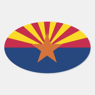 Pegatina oval de la bandera de los E.E.U.U. Arizon