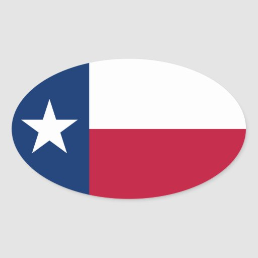 Pegatina oval de la bandera de Tejas
