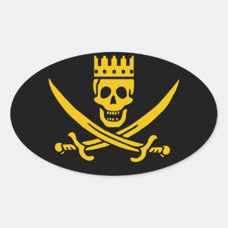 Pegatina oval de la corona del pirata - paquete de