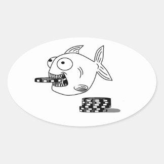 Pegatina oval de los pescados de la piraña del