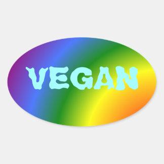 Pegatina oval del arco iris del vegano