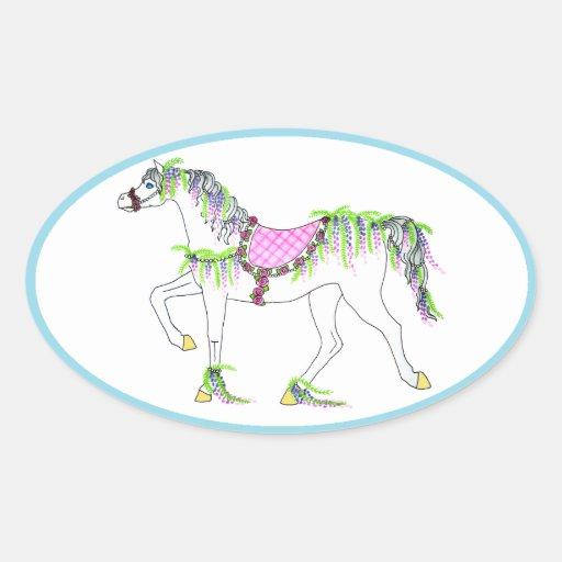 Pegatina oval del caballo del carrusel