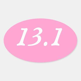 Pegatina oval del medio maratón (rosa)