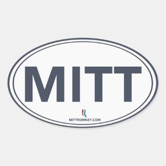 Pegatina oval del mitón de Romney Ryan blanco azu