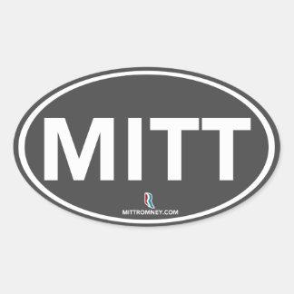Pegatina oval del mitón de Romney Ryan (gris)